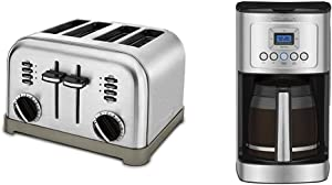 Cuisinart CPT-180P1 Metal Classic 4-Slice toaster, Brushed Stainless & DCC-3200P1 Perfectemp Coffee Maker, 14 Cup Progammable with Glass Carafe, Stainless Steel