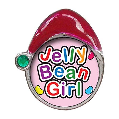 (GiftJewelryShop Cartoon Theme Emerald Green Crystal May Birthstone Santa Hat Charms, Jelly Bean Girl Easter)