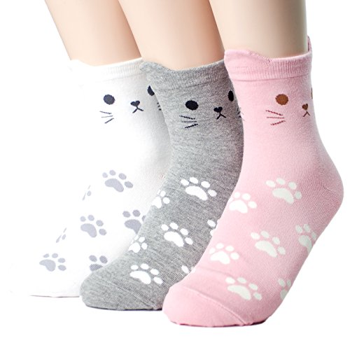 Cute Cats Socks Women's 3pairs(3color)=1pack Made in Korea Cotton
