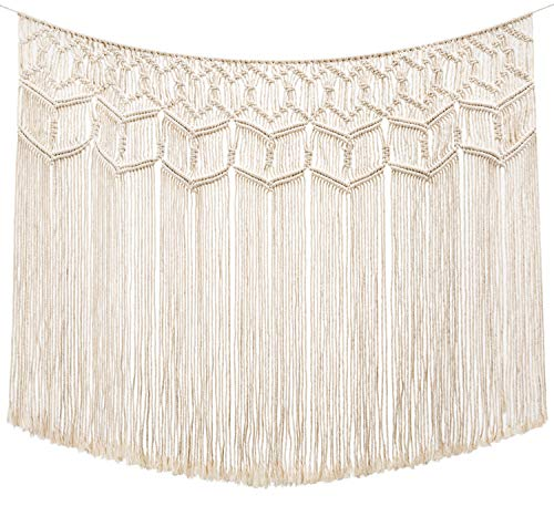 Mkono Macrame Wall Hanging Curtain Fringe Garland Banner Boho Wall Decor Woven Home Christmas Decoration for Apartment Bedroom Living Room Gallery Nursery, 43