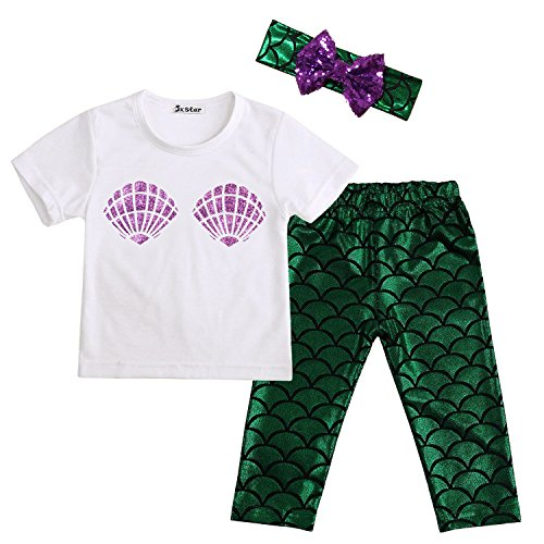 Mermaid Outfits For Toddlers (Jxstar Baby Girls Cute 3PC Set Shell T-shirt + Mermaid Pants Outfit with Headband Green 90)
