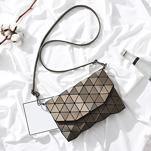 TM Messenger niceEshop Bronze Lattice Fashion Women Geometric PU Shoulder Leather Black Bag Bag Crossbody RwwHfqdS