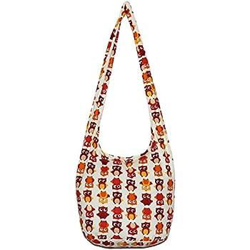 0773462aaac Owl Bohemian Hobo Boho Hippie Hipster Crossbody Bag Purse 35 Inch (Cream)