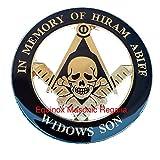 Masonic Rite in Memory of Hiram Abbif the Widow Son Black and G Auto Emblem For Masons