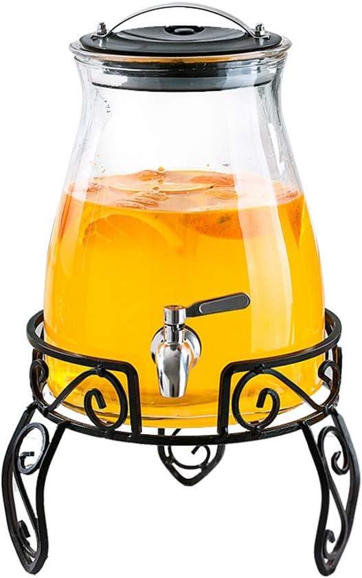 LOOKER-syong ステンレス鋼のコックおよび金属ブラケットが付いている健康的な無鉛5Lガラス飲料ディスペンサー