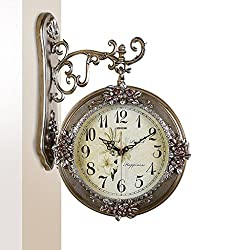 LANNA SHOP- European Retro Luxury Wall Clock Living Room Hanging Silent Fashion Double sided Clocks ( Color : Bronze , Size : S )