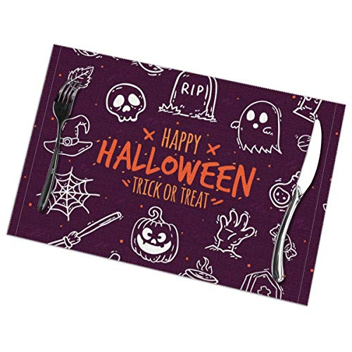 GGlooking Heat-Resistant Placemats Halloween Dining Table Mats Washable Coasters Kitchen Pad Cup Plant Set of 6,12x18in -