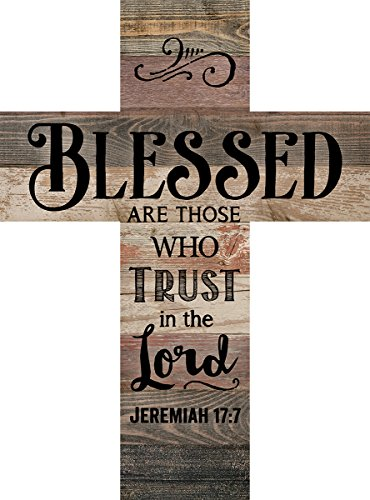 Blessed are Those Who Trust Jeremiah 17:7 Rustic 14 x 10 Wood Wall Art Cross Plaque by P Graham Dunn