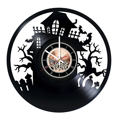 Shrek Costume Party City (Halloween Decorations Vinyl Record Wall Clock - Get unique Home Room wall decor - Gift ideas for friends, teens, kids - Dark Unique Art)