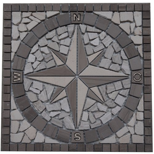 Marble mosaic square medallion tile 30x30 cm Compass Wood structure Elroni
