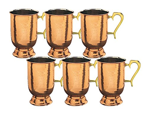 5.5 Inch Solid Copper Hammered Tankard w/Brass Handle 1 Pt. - Set of 6