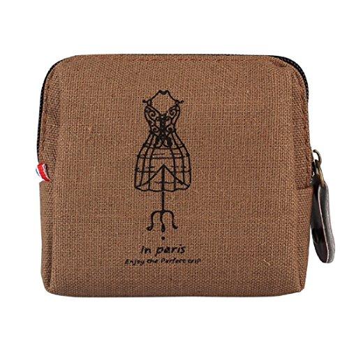 Tongshi Nuevo Mini para mujer retra Señora Purse Card Holders Monedero del bolso de embrague Café