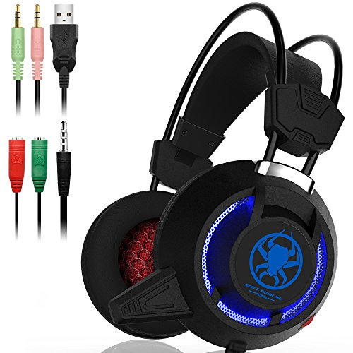 Gaming Headset with Mic for Laptop Computer, Cellphone, PS4,Xbox One- Surrounding Sounds, Noise Isolation, DLAND 3.5mm Wired Gaming Headphones with LED Light - Volume Control.