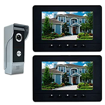 Image of AMOCAM Video Intercom System, 7 Inches Video Doorbell Door phone System, Wired Video Door Phone HD Camera kits Dual-way Intercom for Villa House Office Apartment 1-IR camera 2-LCD color monitor Home Security Systems