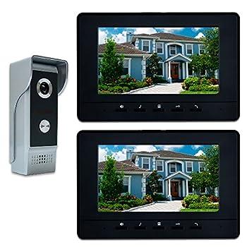 Image of AMOCAM Video Intercom System, 7 Inches Video Doorbell Door phone System, Wired Video Door Phone HD Camera kits Dual-way Intercom for Villa House Office Apartment 1-IR camera 2-LCD color monitor