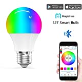 Magic Hue Bluetooth Smart Light Bulb - Dimmable Multicolored Color Changing Disco Light - Smartphone Controlled Wake Up LED Lights – Works as Night Light - E27(40Watts Equivalent)