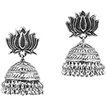 """Touchstone """"Tribal Bohemian Chic"""" Traditional Gypsy Indian Jewelry. Afghani Lotus Lower Inspired Beautifully Hung With Bunches Of Ghungroo Designer Jhumki Earrings For Women In Oxidized Silver Tone."""