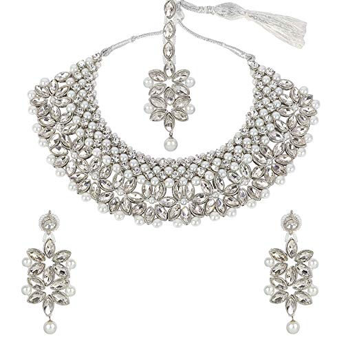 MUCH-MORE Fashion Necklace Set with Pearl & Crystal Stone for Women (104WHITE)