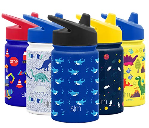 Simple Modern Kids Summit Sippy Cup Thermos 10oz - Stainless Steel Toddler Water Bottle Vacuum Insulated Girls and Boys Hydro Travel Cup Flask -Shark Bite Purple