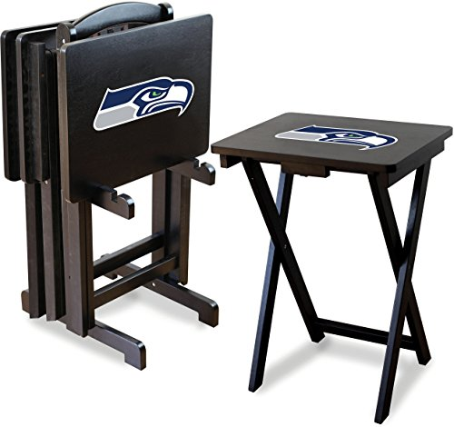Imperial Officially Licensed NFL Merchandise: Foldable Wood TV Tray Table Set with Stand, Seattle Seahawks -