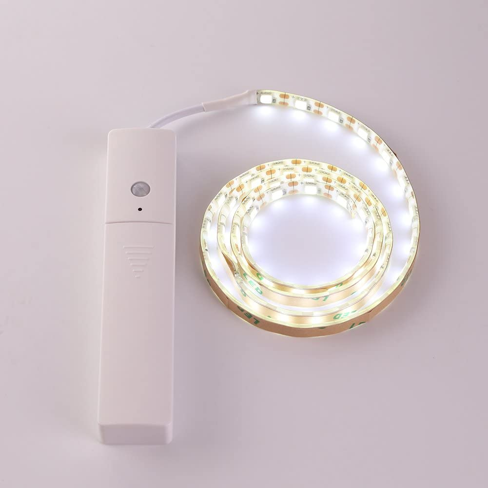 High Brightness PIR Motion Sensor Wireless Battery Powered Bedroom Closet Lamp with On Off Auto Switch Pure White LED Strip Light