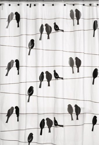 Saturday Knight Birds on a Wire PEVA Shower Curtain, Black
