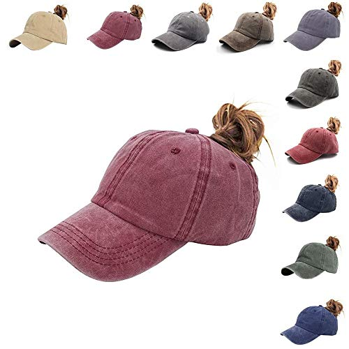 (NeuFashion Ponytail Unconstructed Distressed Washed Dad Hat Messy High Bun Ponycaps Plain Baseball Cap (Jean Wine red))