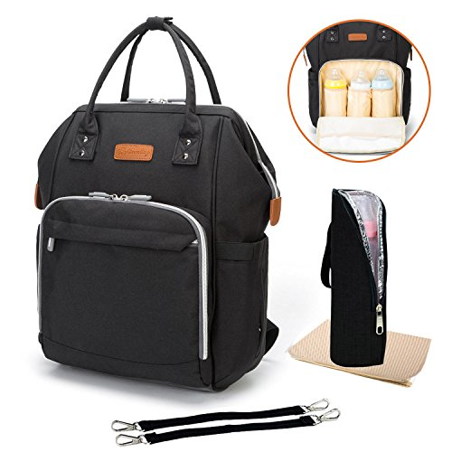 Diaper Bag Multi-Function Travel Backpack Nappy Bags, Nappy Tote Bag/Stroller Straps for Baby Care, Large Capacity, Stylish and Durable, Newborn Gifts 300D Linen Gray (Black Backpack)