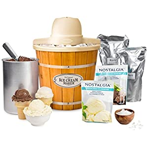 Nostalgia ICMP400WDBUN Wood Bucket Electric Ice Cream Maker with Starter Kit, 4-Quart, Brown