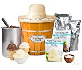Nostalgia ICMP400WDBUN Wood Bucket Electric Ice Cream Starter Kit, 4 quart, Brown