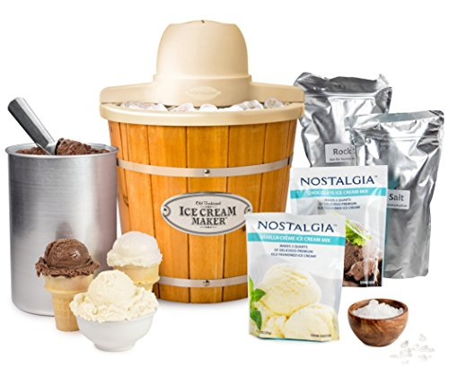 Nostalgia ICMP400WDBUN Wood Bucket Electric Ice Cream...