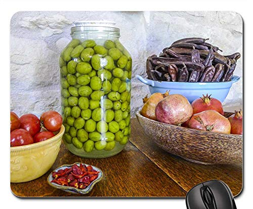 Mouse Pad - Harvest Tomatoes Olives Pomegranates Chilies Carob