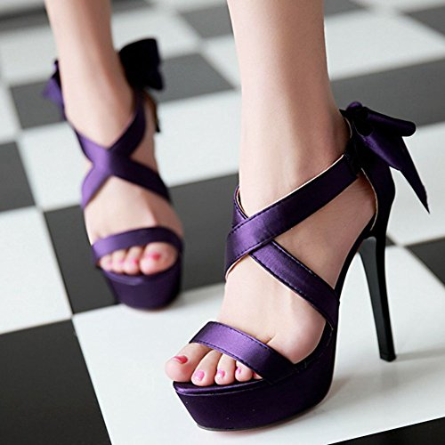 Sandals for Sandals Platform summer Dress Bowknot SaraIris Heel Women's Dress Stiletto Purple qZwxn67z