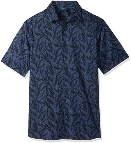 Perry Ellis Men's Big and Tall Tonal Tropical Leaves Shirt