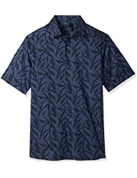 Perry Ellis Men's Big and Tall Tonal Tropical Leaves Shirt