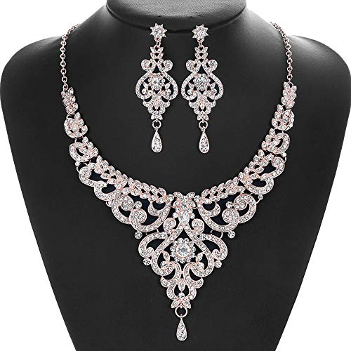 TUTOO Women's Wedding Bridal Necklace Earrings Jewelry Set Sparkling Crystal Rose Gold Necklace Earrings Diamond Jewelry, Choker Necklace, Necklace Chain