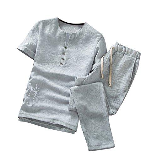pièces Chinois Set À Style Été T Courtes Deux Jogging Sweat Sport Slim Manches Gris Hommes shirts Pantalons qZC1x6w