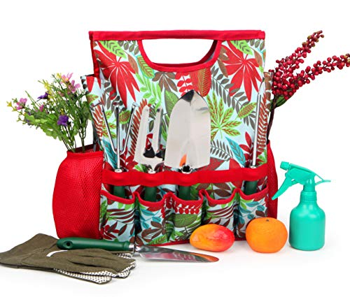 9-Piece Garden Tools Set with Gloves and Colorful Tote - Gardening Hand Tools Kit with Storage Bag