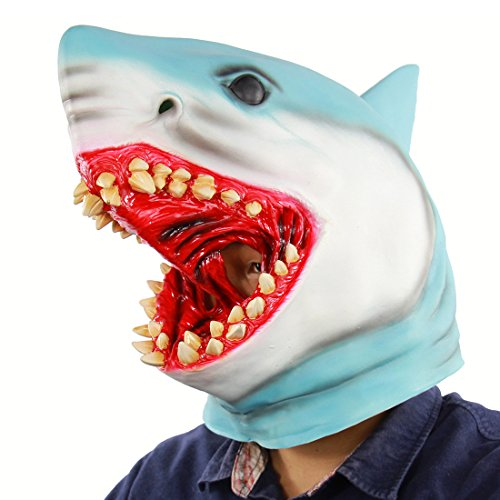 Hophen Halloween Horror Shark Animal Cosplay Props Scary Bloody Great White Latex Masks For Masquerade Parties,Carnival Decorations for $<!--$19.99-->