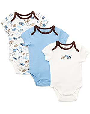 Boys Puppy Baby Bodysuits 3 Pack
