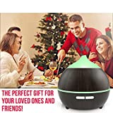 Essential Oil Diffuser, Mulcolor 250ml Wood Grain Aromatherapy Diffuser Ultrasonic Aroma Diffuser Cool Mist Humidifier with Low Water Auto Shut-off, 7 Color LED, Perfect for Christmas Gift Home Spa