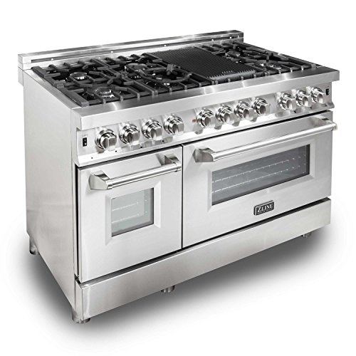 ZLINE 48 in. 6.0 cu. ft. 7 Gas Burner/Electric Oven Range in Stainless Steel (Dual Fuel Range Ovens)