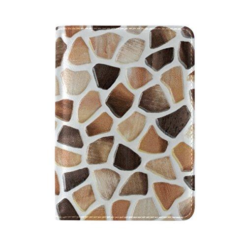 Yuihome - Funda de piel para pasaporte de viaje, diseño de baldosas de mármol