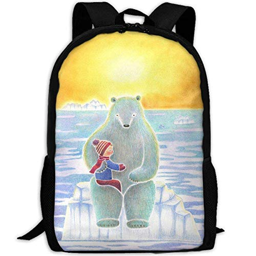 DKFDS Backpacks Most Durable Lightweight Travel Water Resistant School Backpack One Size - Boy And Polar Bear Art Print (Brown Tamrac Strap)