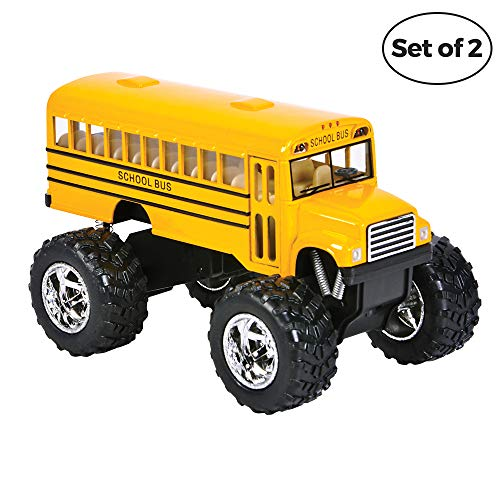 Price comparison product image Bedwina Die Cast Yellow School Bus - 2 Pack Set Monster Truck School Bus,  Pull Back Car Toys,  Play Vehicles and Gifts for Toddlers,  Kids That Makes for Great Party Favors