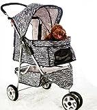 BestPet 3-Wheel Pet Stroller, Classic Zebra