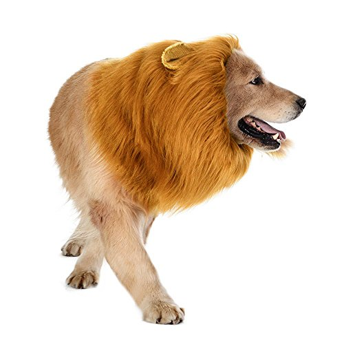 [Lion Mane for Dog, StillCool Pet Dog Costume Lion Wigs Mane Hair Party Fancy] (Dog Lion Costume Large)