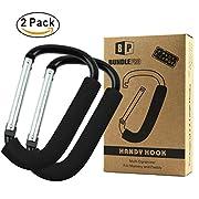 Pack of 2 XLarge Stroller Hook | Mommy Organizer for Hanging Diaper Shopping Bag (Black)