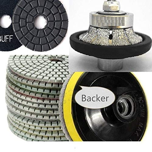 Diamond 1/2'' 13 mm Demi Bullnose Router Bit Grinding profile wheel 4'' Polishing Pad Buffer 12+1 for natural stone engineered stone granite marble concrete quartz counter top floor tile shaping sharp