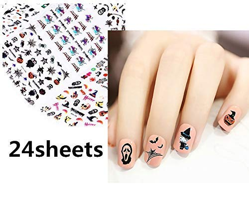 Gwill 24 Sheets Halloween Nail Stickers Set Self-Adhesive 3D Stereo Nail Art Stickers Designs Decal Manicure DIY Decorations Toe Stickers Christmas Nail Decals Assortment